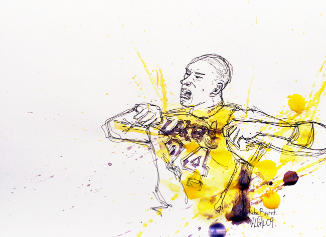 Illustration Kobe Bryant basketball.
